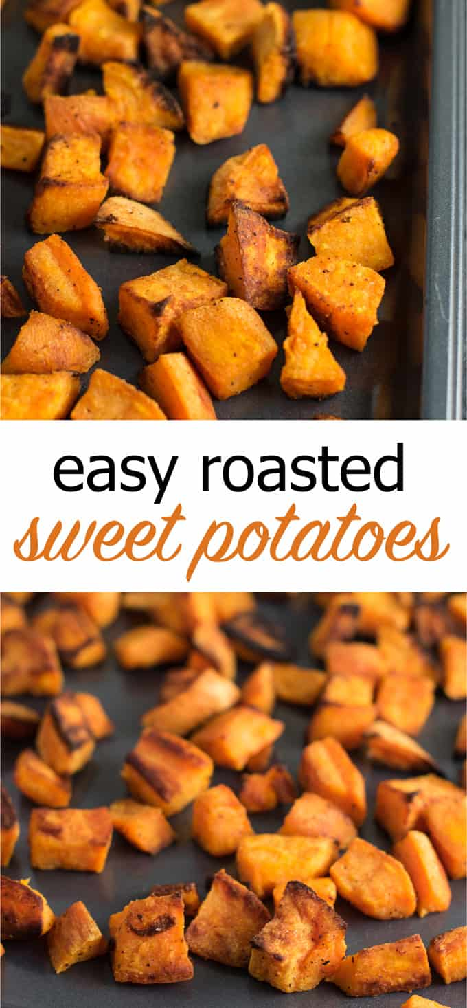 Easy roasted sweet potatoes - these are so simple to make and perfect for any meal of the day! #roastedsweetpotatoes #sweetpotatoes #sidedish #vegan