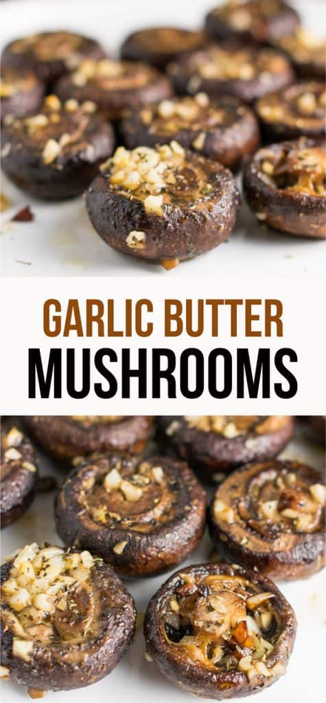 garlic butter mushrooms recipe - these are so good for a side dish or appetizer! #mushrooms #garlic #dinner #appetizer #dairyfree #vegan #sidedish