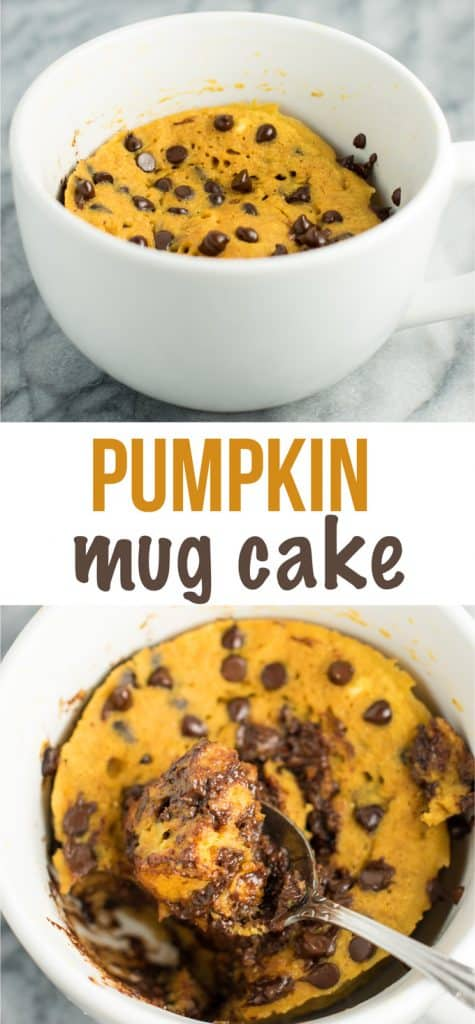 Healthy pumpkin mug cake recipe with whole wheat flour and no oil! This was AMAZING! Didn't taste healthy at all and so delicious for fall! #pumpkin #mugcake #dessert #healthy #oilfree #wholewheatflour