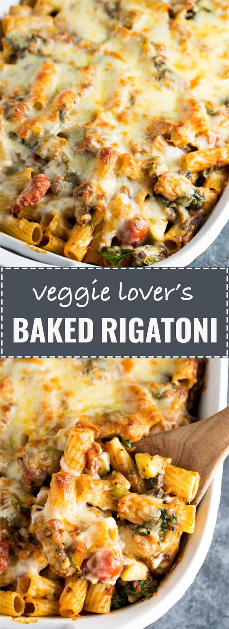 veggie lover's baked rigatoni - #vegetarian #pastabake #rigatoni #veggielovers