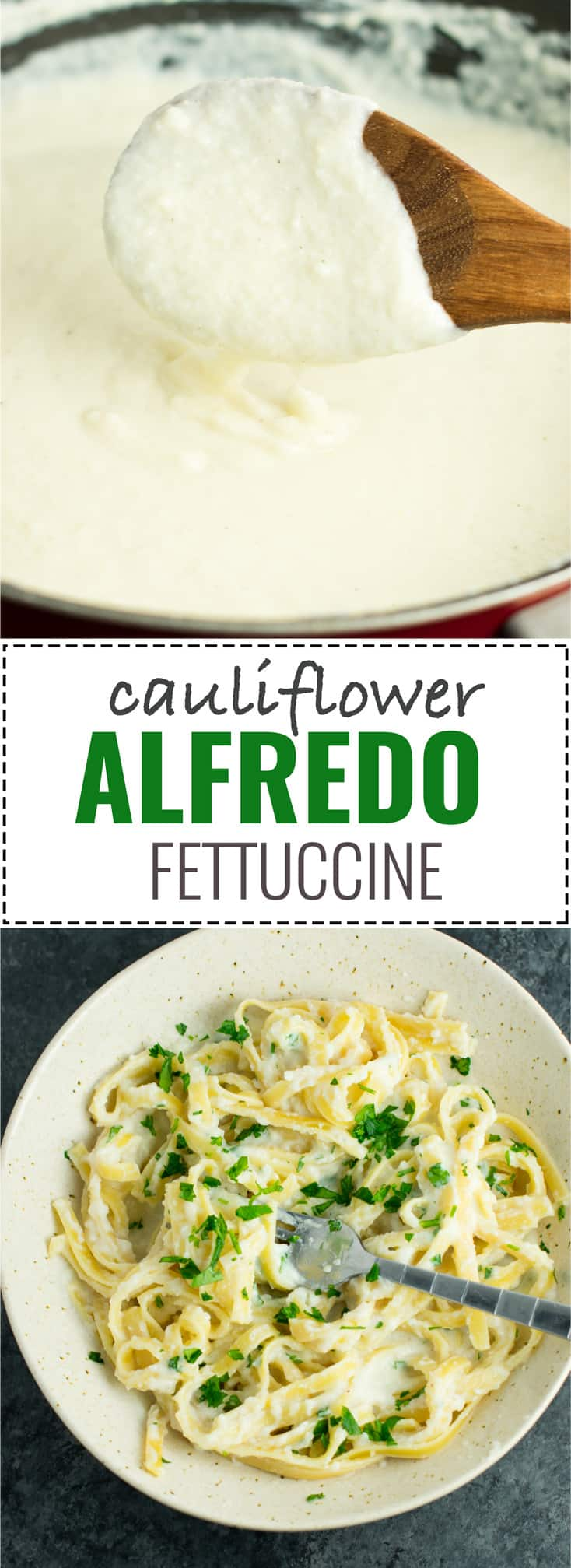 Easy Cauliflower Fettuccine Alfredo Recipe with fresh garlic and parmesan. A sauce so insanely delicious you'll want to lick it from the spoon! #cauliflower #alfredo #fettuccine