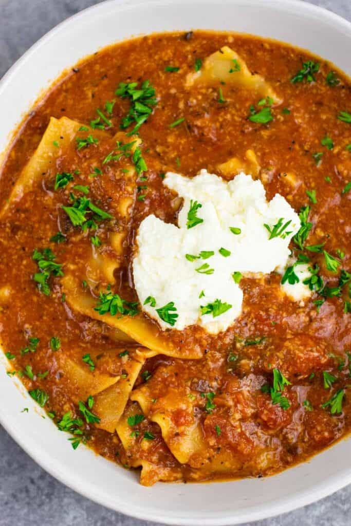 Easy One Pot Lasagna Soup Recipe With Mushrooms Vegetarian