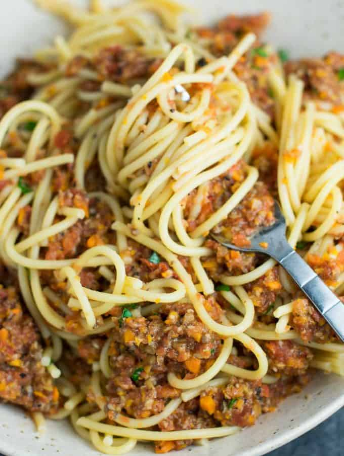 "Vegetable bolognese recipe made with mushrooms, carrots, celery, garlic, and onion. A delicious meatless vegetarian ""meat"" sauce recipe. #vegetablebolognese #vegan #vegetarian #bologneserecipe"