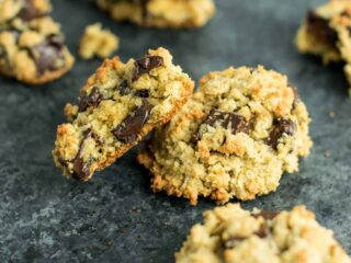 Gluten Free Oatmeal Chocolate Chip Cookies recipe made with oat flour and coconut flour. An easy, healthy, and delicious cookie recipe made using easy to find and inexpensive gluten free flours. #glutenfree #oatmealchocolatechip #healthy #cookies