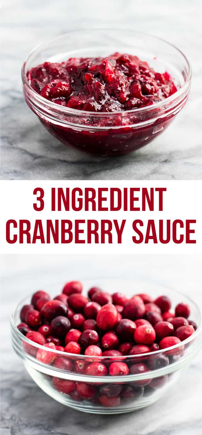 Healthy cranberry sauce recipe (vegan). Only 3 ingredients and low sugar. The best cranberry sauce I have ever had! We make this every year. #cranberrysauce #thanksgiving #vegan #vegetarian #healthycranberrysauce #freshcranberries