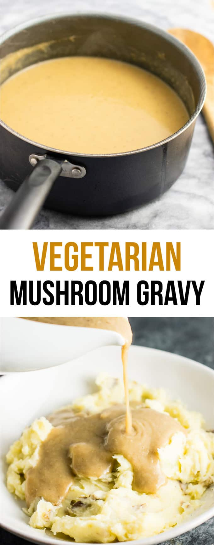 Vegetarian gravy recipe – this is the BEST gravy I have ever had, with or without meat! Seriously incredible and everyone will be wanting some at Thanksgiving! #gravy #vegetarian #mushroomgravy #vegan #vegetarianthanksgiving