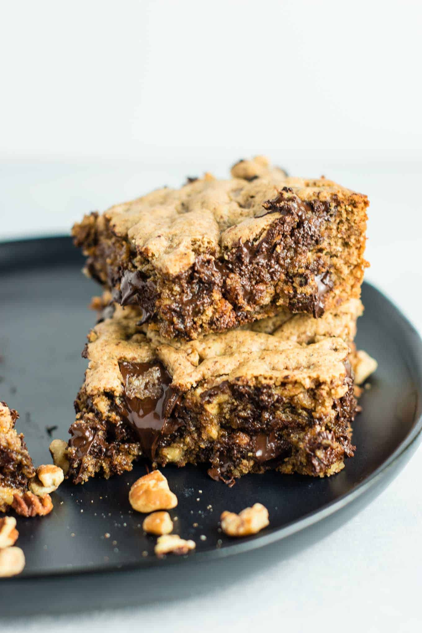 (Death by Chocolate) Dark Chocolate Pecan Cookie Bars recipe – gluten free and dairy free. You won't believe how good these are! Serve warm with a scoop of vanilla ice cream! #glutenfree #dairyfree #cookiebars #dessert #chocolate