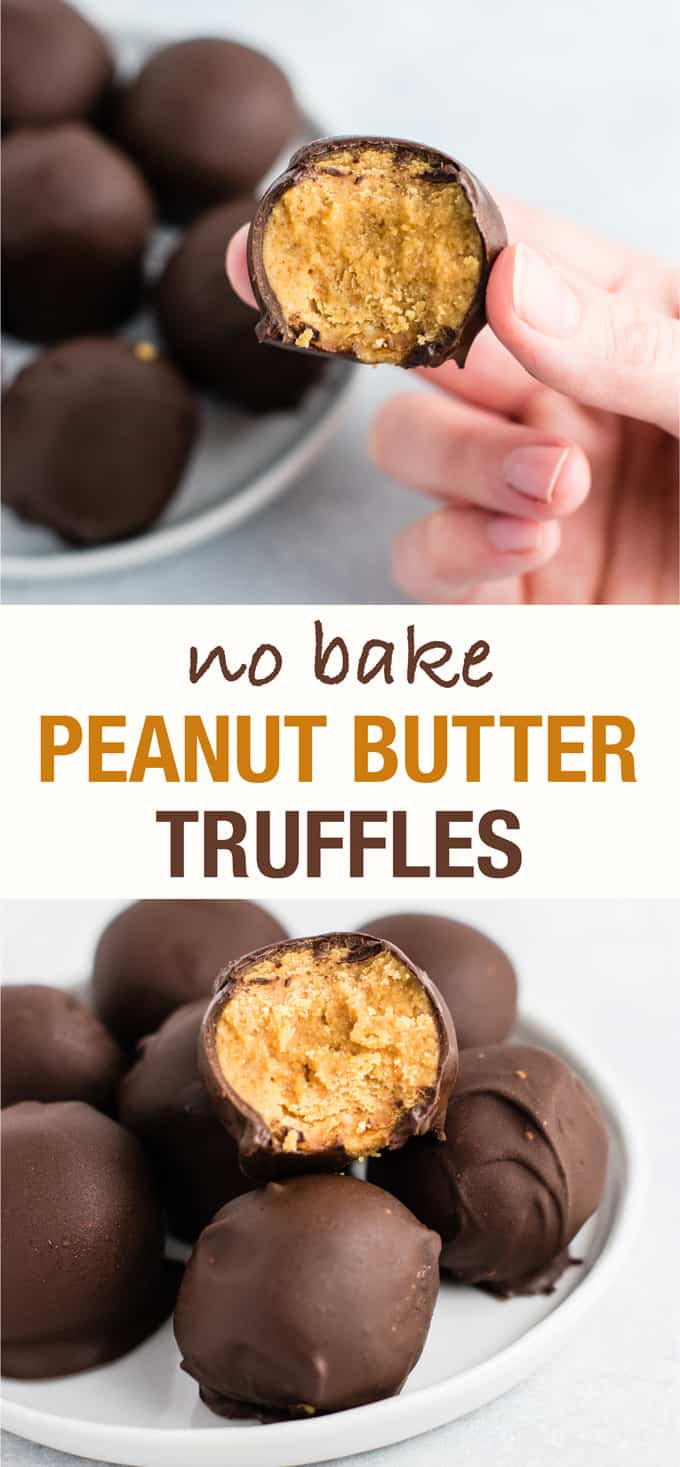 healthy no bake peanut butter truffles (gluten free, vegan) - these are perfect for the holidays! Tastes like a buckeye! #desserts #vegan #glutenfree #nobake #christmasdessert