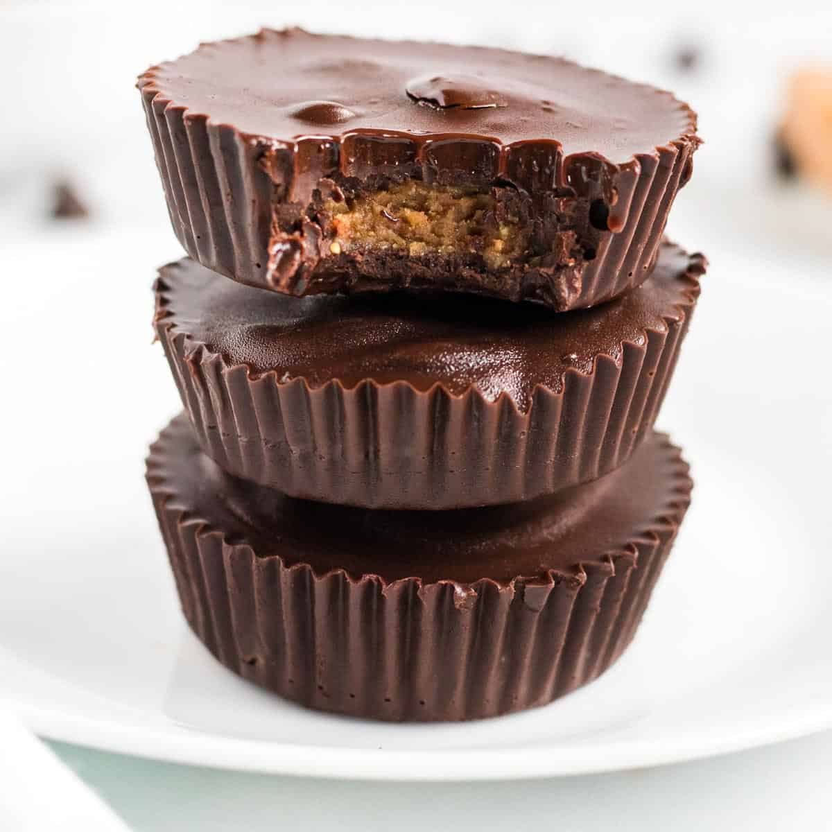 stacked peanut butter cups with a bite taken out