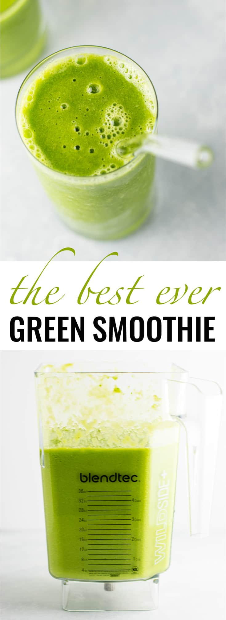 The BEST EVER green smoothie recipe made with kale, ginger, oranges, lemon, frozen banana, frozen peaches, and water. A ridiculously good for you delicious green smoothie that the whole family will love! #greensmoothierecipe #vegan #kale #drinks