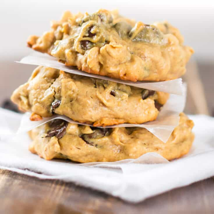peanut butter oatmeal chocolate chip cookies stacked