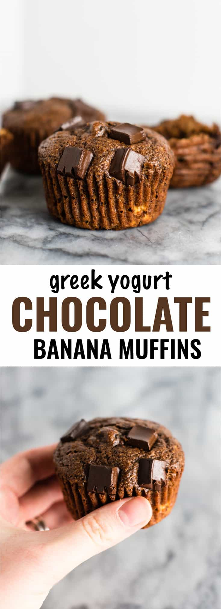 Greek Yogurt Chocolate Banana Muffins – healthy and so good! Who doesn't want chocolate for breakfast?! #healthychocolatemuffins #breakfast #greekyogurt #chocolatebananamuffins #greekyogurtmuffins