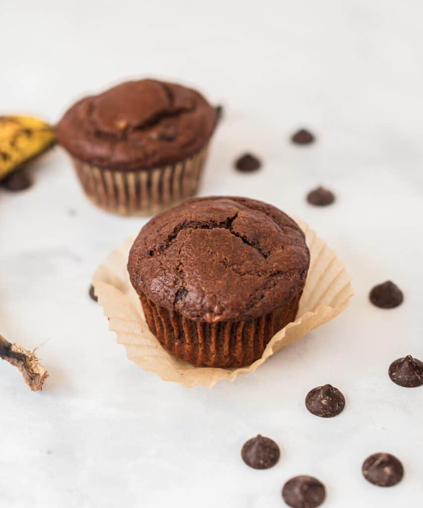chocolate muffin on a muffin liner