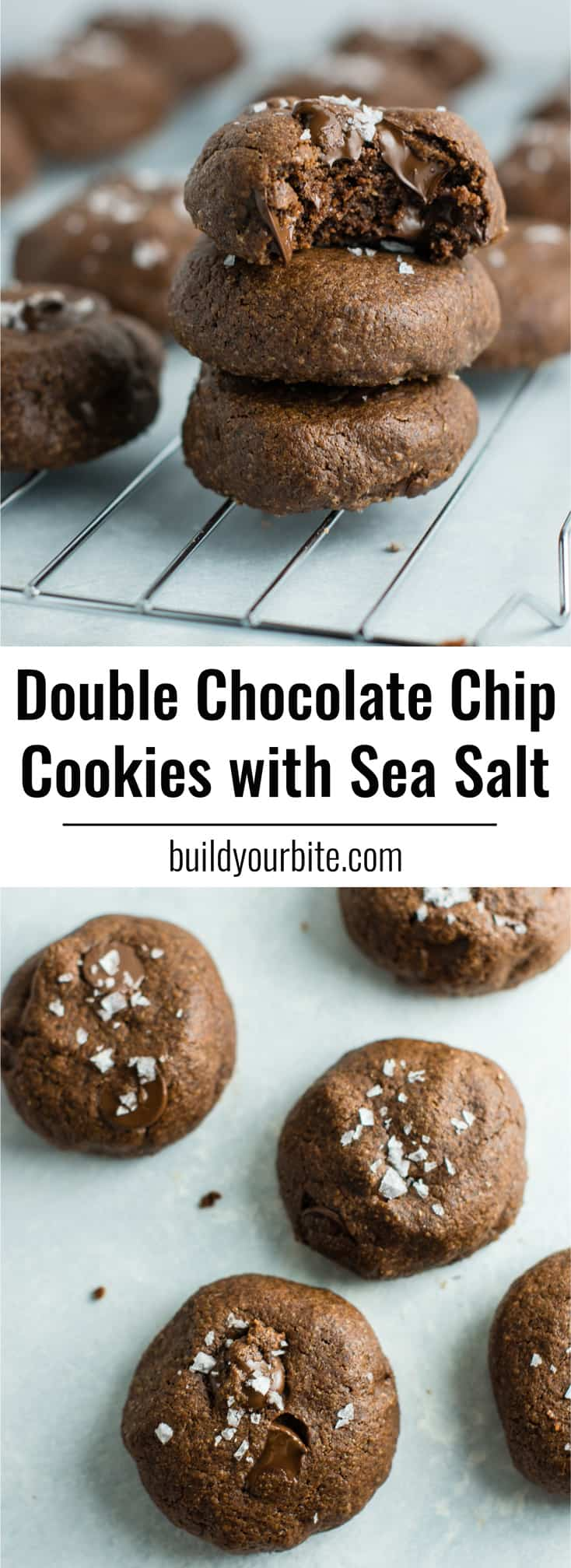 Healthy double chocolate chip cookies with sea salt. So decadent and delicious and made healthier with coconut oil! #doublechocolatechipcookies #healthycookies #dairyfree #dessert #healthy