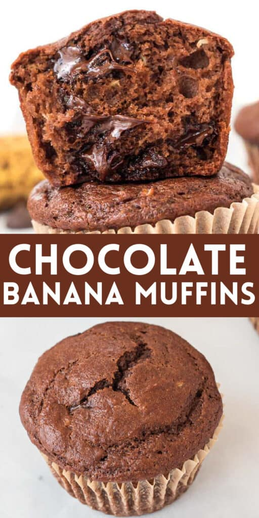 """image with text """"chocolate banana muffins"""""""