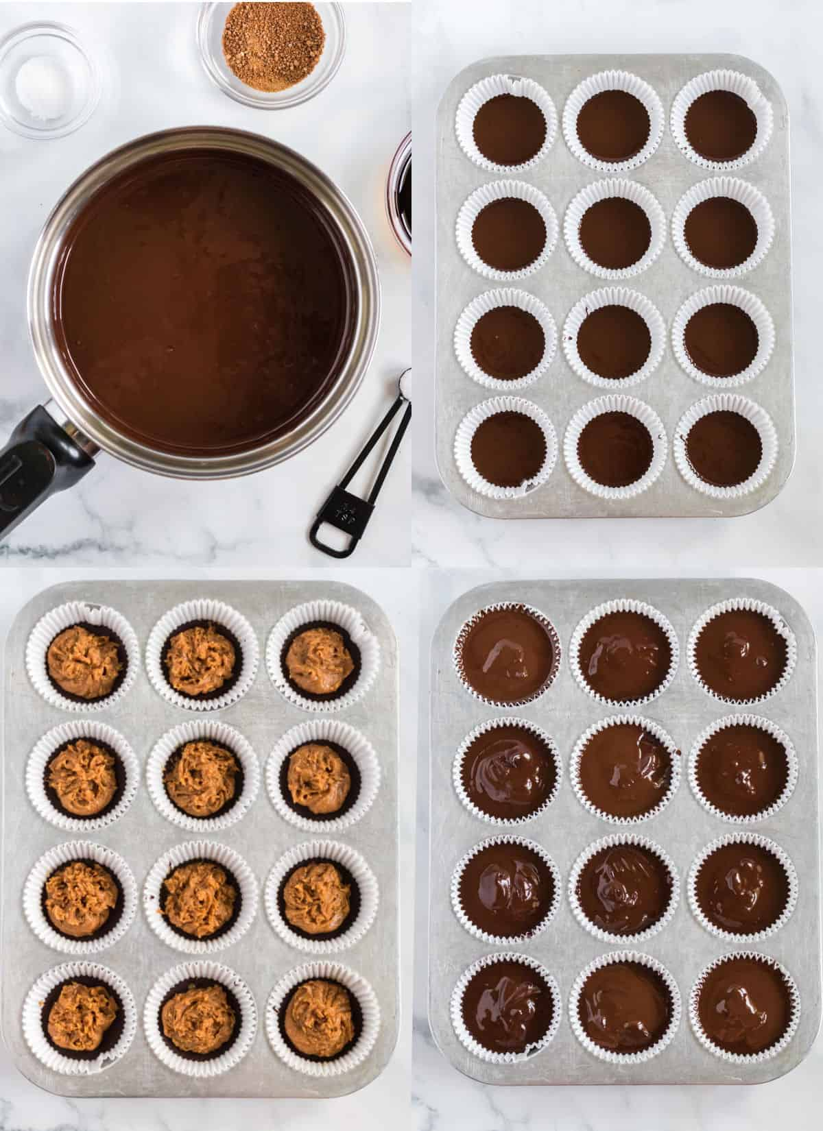 collage image showing the steps to make peanut butter cups