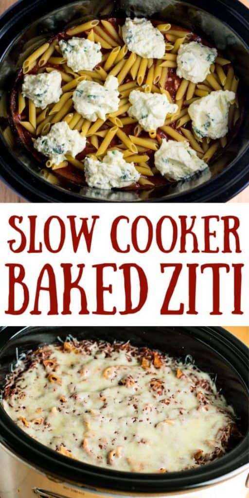 "image with text ""slow cooker baked ziti"""