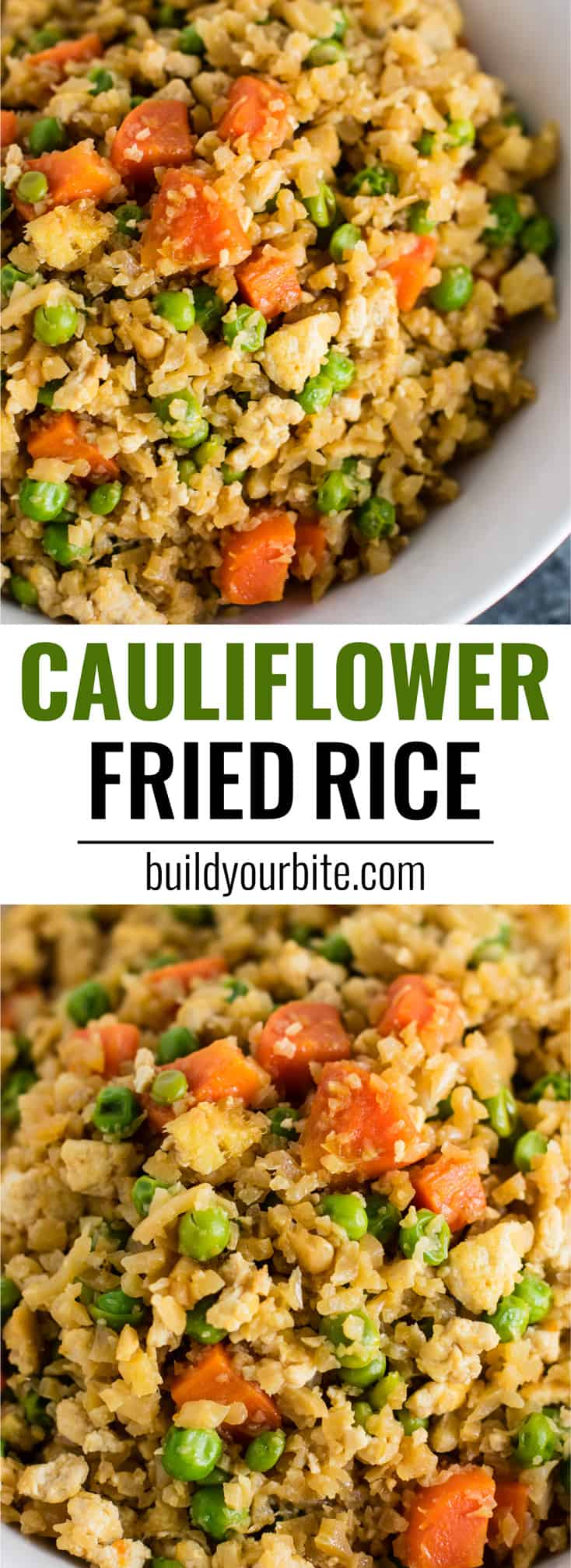 This cauliflower tofu fried rice is vegan, gluten free, grain free, and low carb. You won't believe this doesn't have rice or eggs in it! My new favorite dinner recipe! #grainfree #glutenfree #cauliflowerfriedrice #tofufriedrice #vegan #dinner #eggfree