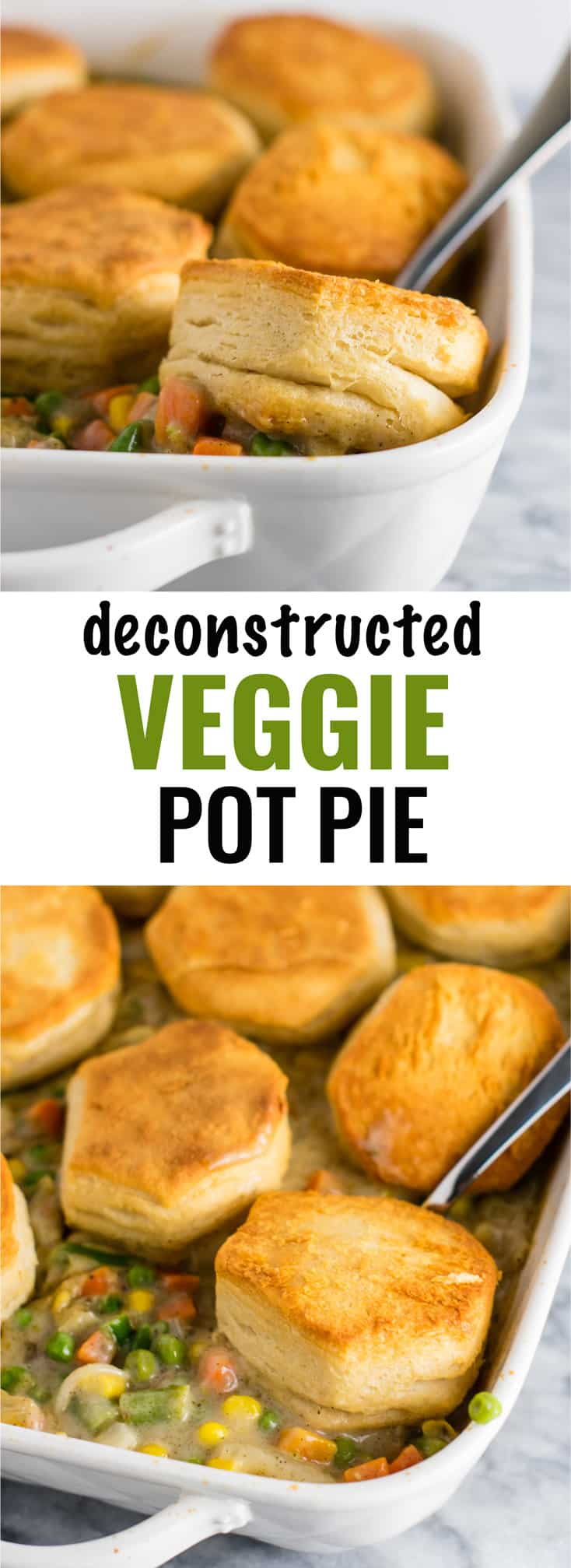 Deconstructed Veggie Pot Pie Recipe with flaky biscuits on top. A delicious twist on a classic recipe that is so simple to make. Easy delicious meatless dinner! #veggiepotpie #vegetarian #meatless #dinner #healthydinner