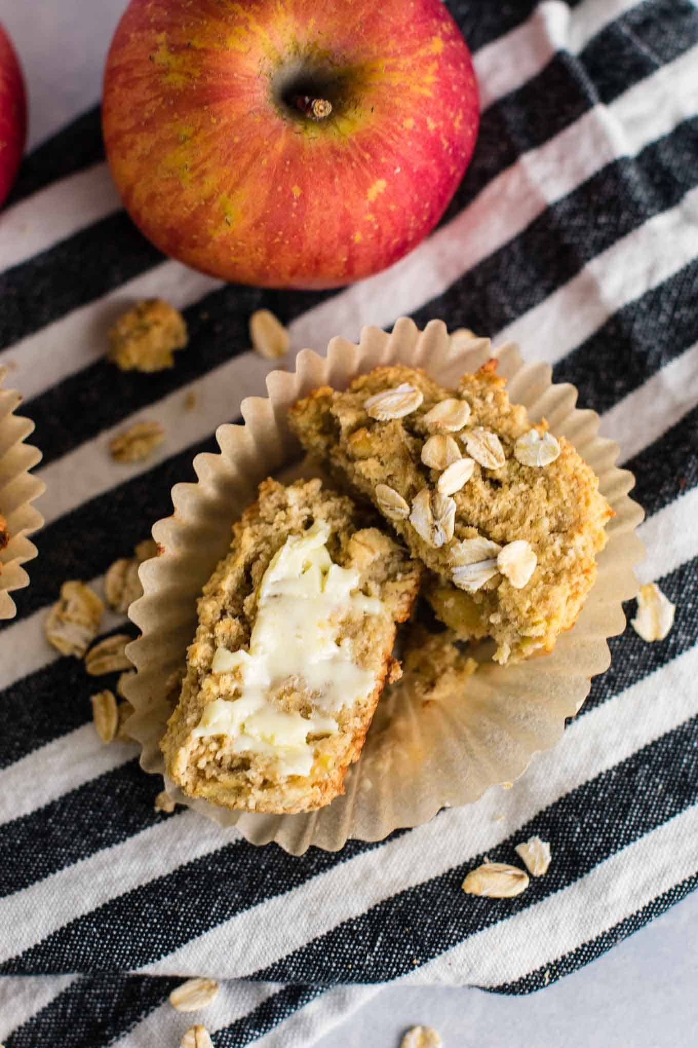 Healthy Apple Muffins Recipe with coconut flour and oat flour. Naturally gluten free and so soft and delicious. They taste like apple pie to me! #glutenfree #applemuffins #oatflour #coconutflour #glutenfreemuffins #breakfast #glutenfreebreakfast #dairyfree