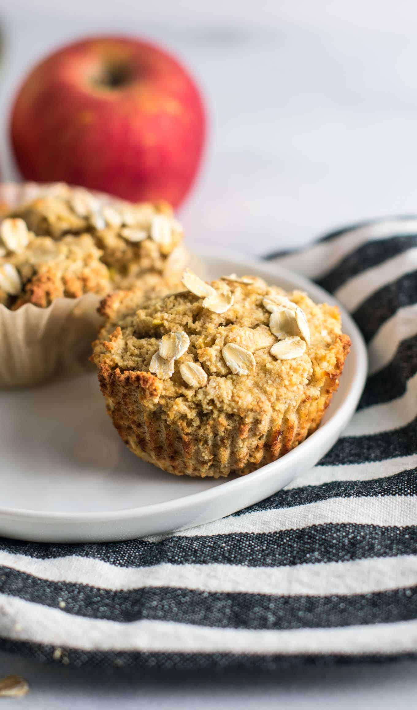 Coconut flour apple muffins. Naturally gluten free and so soft and delicious. They taste like apple pie to me! #glutenfree #applemuffins #oatflour #coconutflour #glutenfreemuffins #breakfast #glutenfreebreakfast #dairyfree