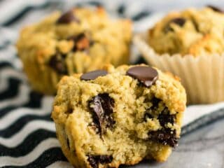 Gluten free chocolate chip muffins (dairy free) Made with coconut flour and oat flour and naturally sweetened! #breakfast #glutenfree #chocolatechipmuffins #glutenfreedairyfree #dairyfree