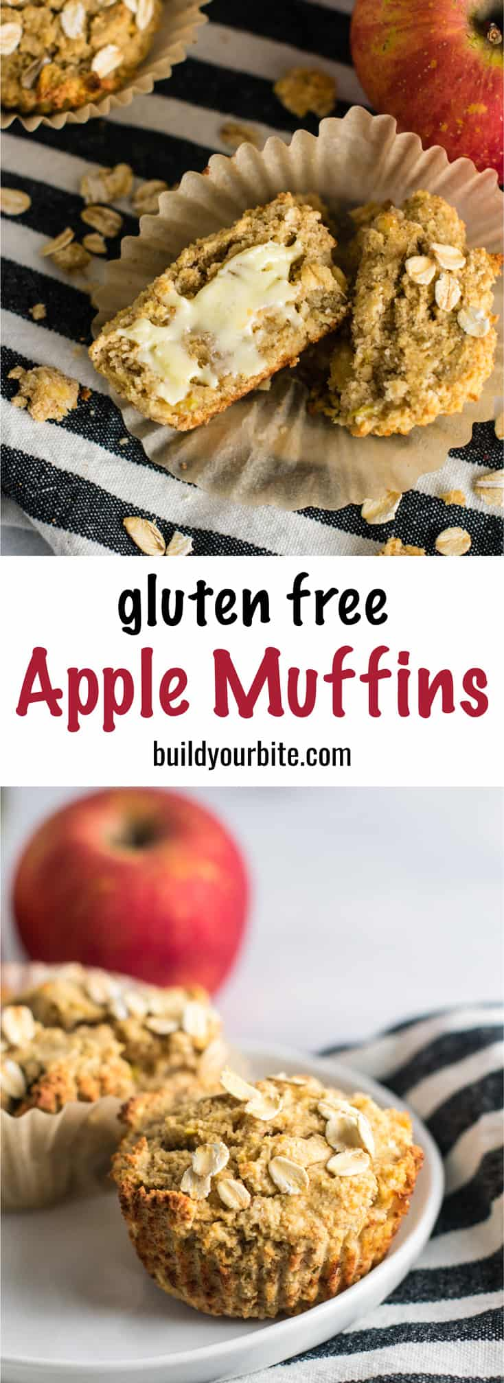 Gluten Free Apple Muffins Recipe with coconut flour and oat flour. Naturally gluten free and so soft and delicious. They taste like apple pie to me! #glutenfree #applemuffins #oatflour #coconutflour #glutenfreemuffins #breakfast #glutenfreebreakfast #dairyfree