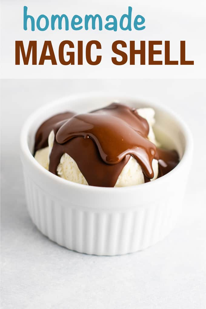 Easy homemade magic shell made with just 3 ingredients. Pour over your favorite ice cream for a special treat!