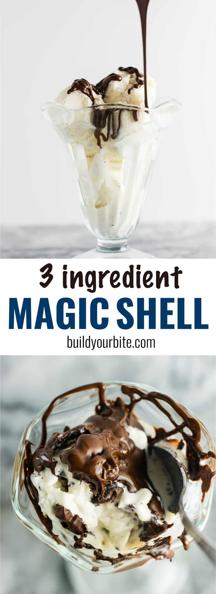 Healthy homemade magic shell recipe made with just 3 ingredients. You'll love this easy recipe! #magicshell #dessert #glutenfree #dairyfree #coconutoil #vegan