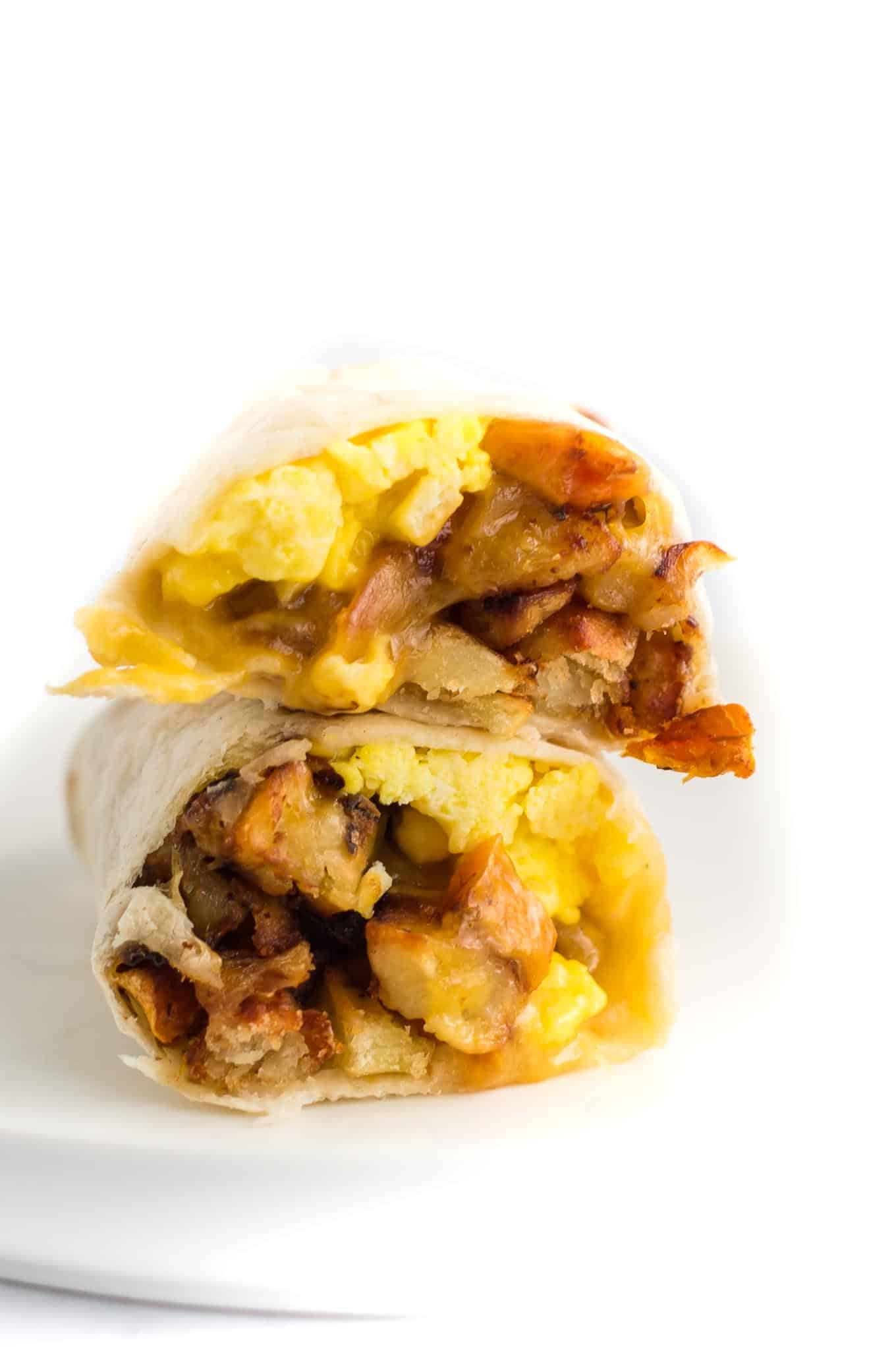 burrito cut in half stacked on top of each other