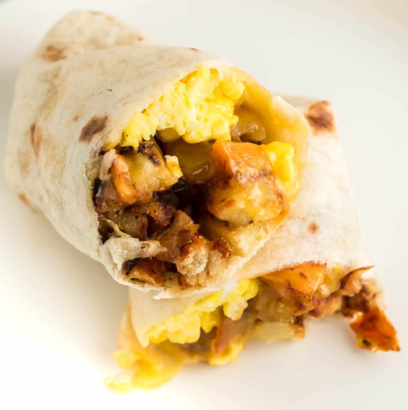 breakfast burrito cut in half