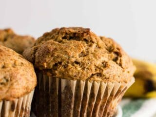 Whole Wheat Banana Bread Muffins Recipe (naturally sweetened) A wholesome snack or breakfast that both kids and adults will love! #wholewheat #bananabreadmuffins #healthybreakfast #muffins #bananabread