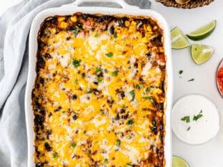 mexican quinoa casserole in a white baking dish