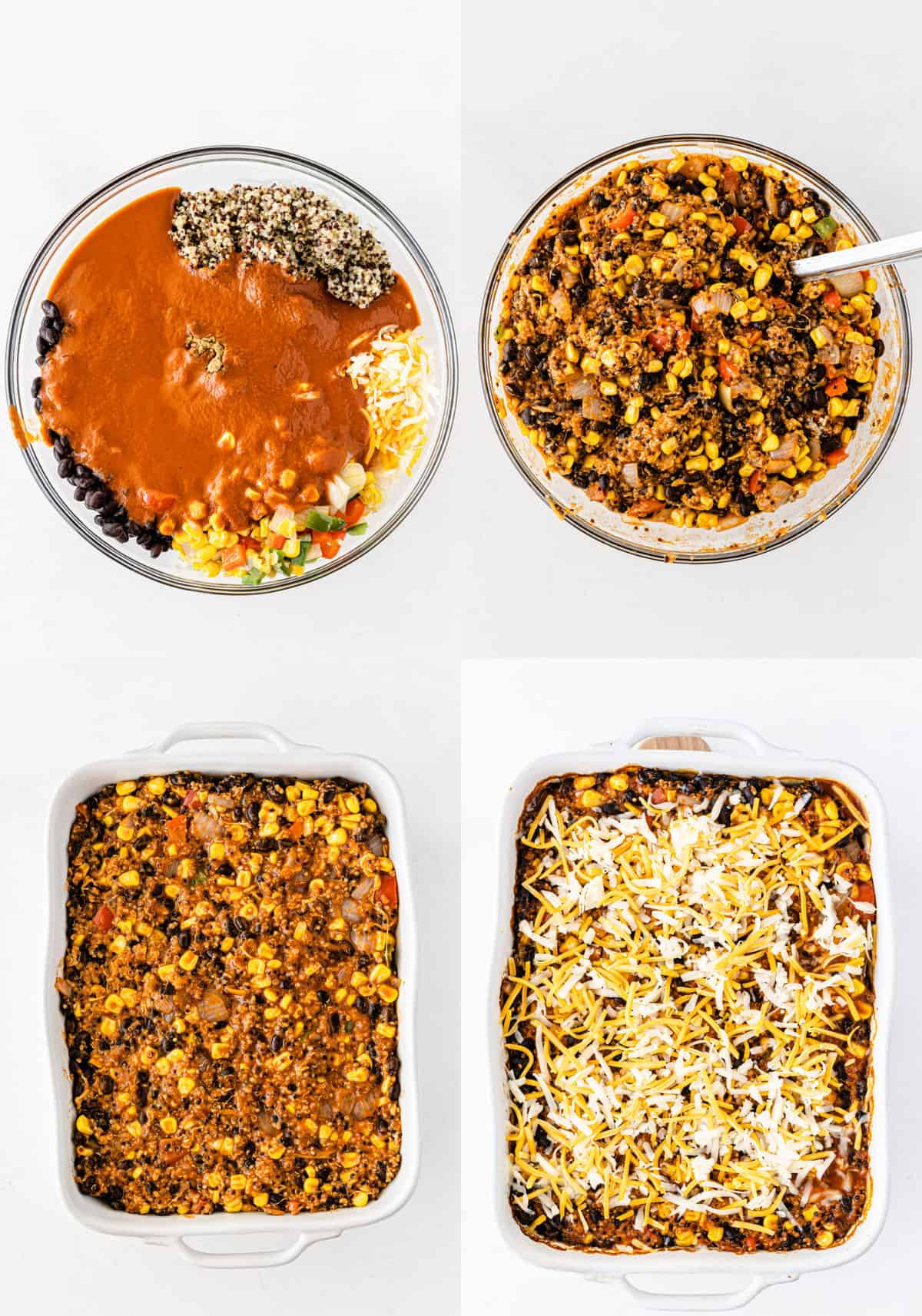 image collage showing the enchilada casserole ingredients, mixed together, in a casserole dish, then topped with mexican cheese