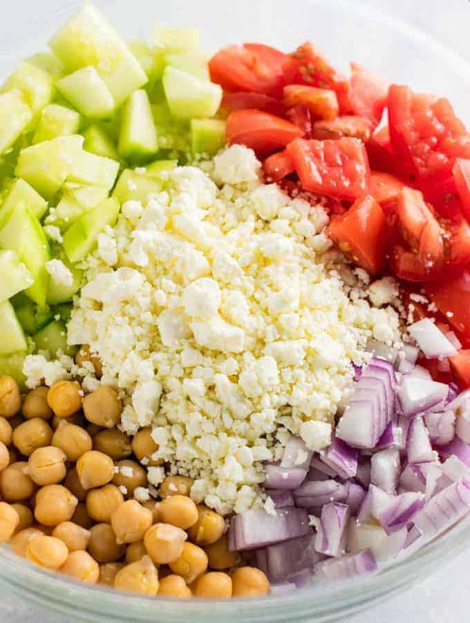 Cucumber Chickpea Greek Salad