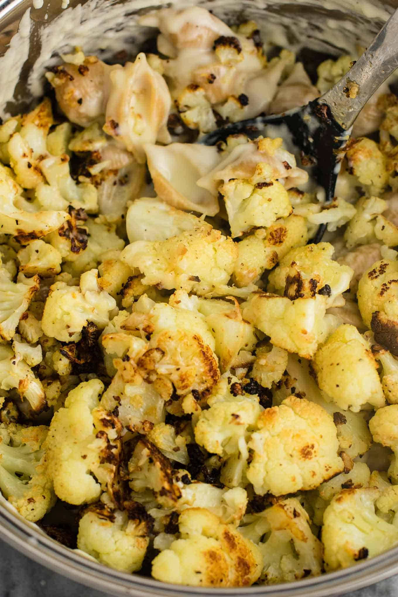 Roasted Cauliflower Shells and Cheese - Build Your Bite