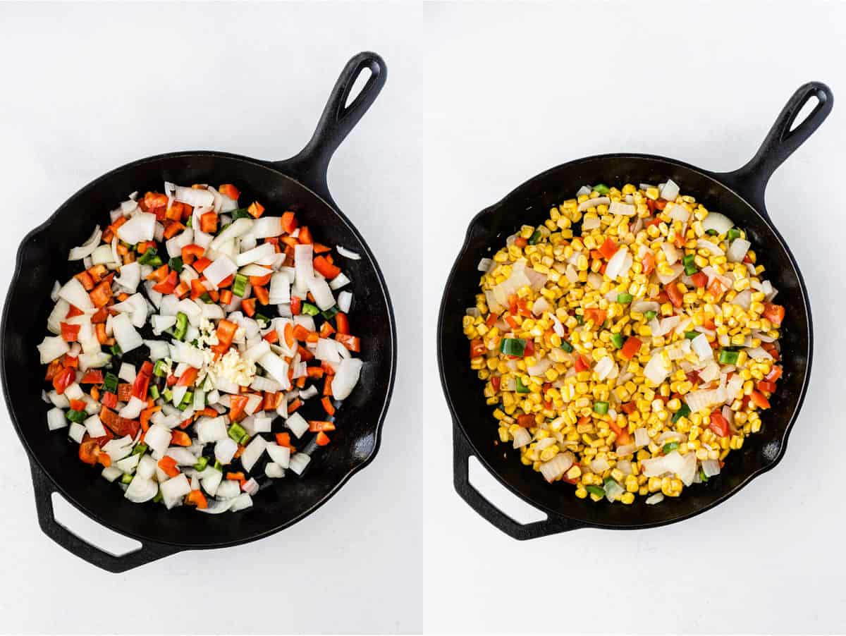 collage image showing the bell pepper and onion in a cast iron skillet, then the corn added