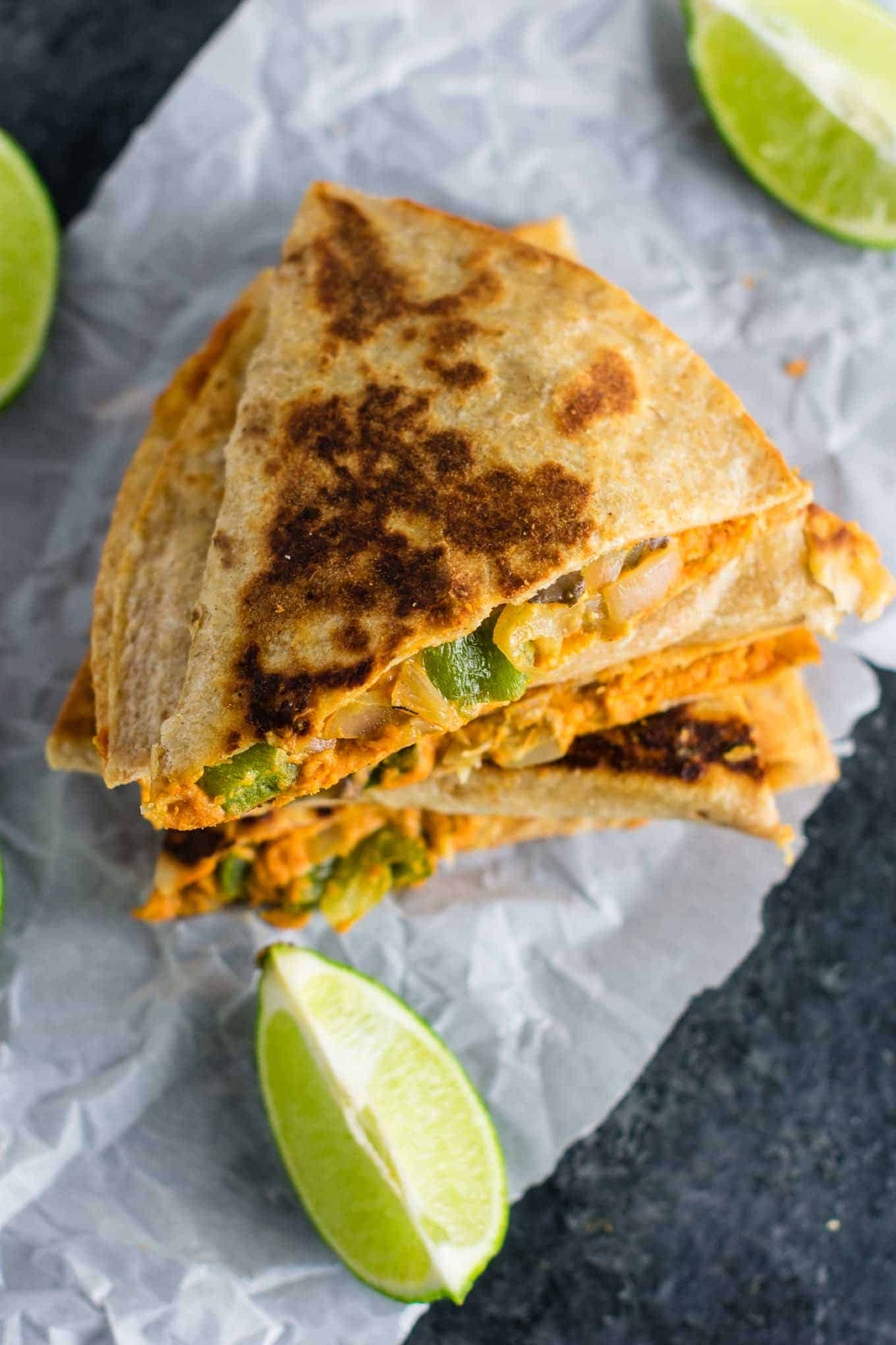 Easy vegan quesadillas recipe packed full of protein and flavor. No meat, no dairy, no vegan cheese! It's a Mexican favorite gone vegan! #vegan #quesadillas #meatless #veganmexican #veganquesadilla #dinner #recipes