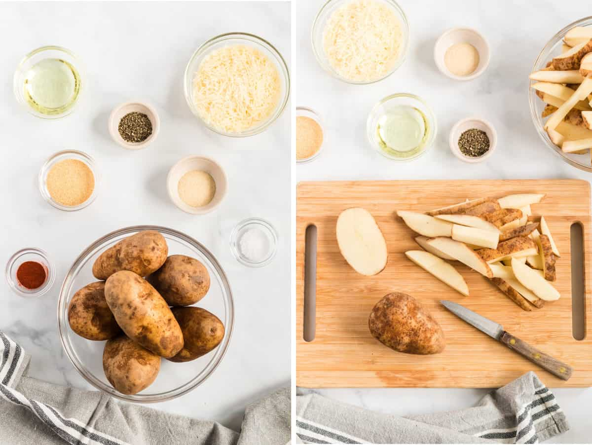 collage image showing recipe ingredients and potato being cut into wedges
