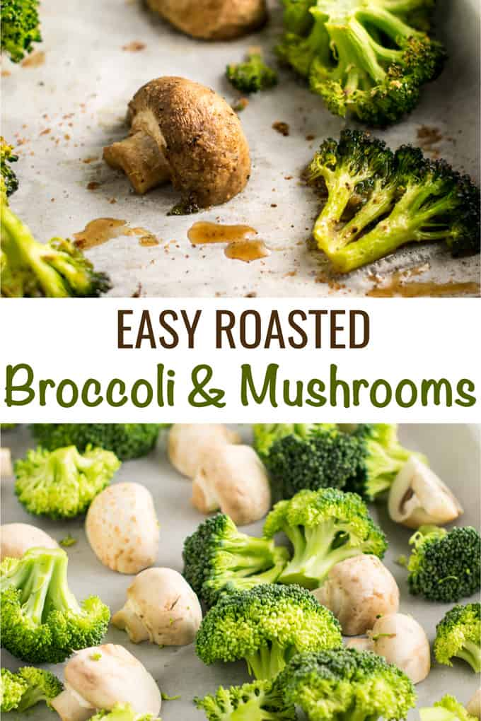 Roasted broccoli and mushrooms recipe - easy side dish! This was so easy and really good. We will be making it a lo! #broccoliandmushrooms #vegan #sidedish #dinner #glutenfree #broccoli #mushrooms #easysidedish #mushrooms