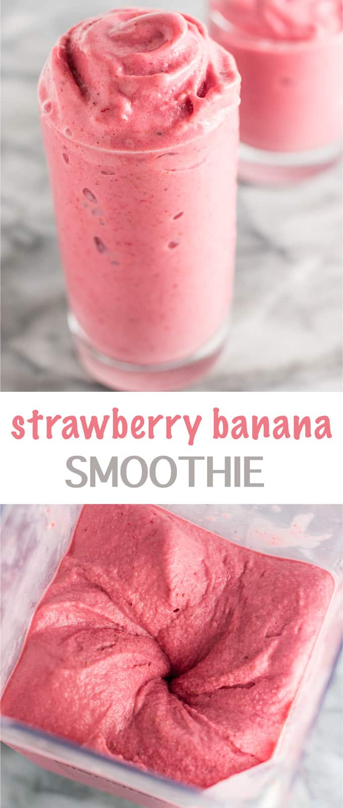 Healthy strawberry banana smoothie recipe with just 3 ingredients! This seriously tastes like ice cream - so good! #strawberrybananasmoothie #healthy #healthysmoothie #breakfast #dessert