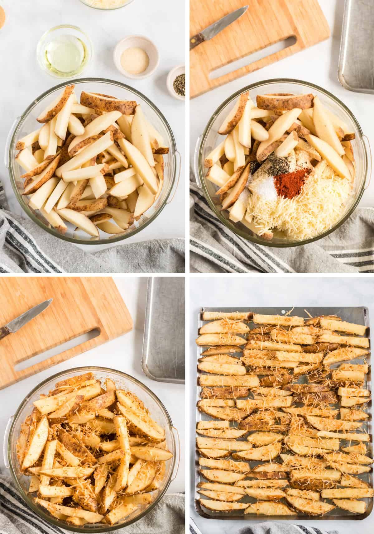 collage image showing the cut up potato wedges, mixed with spices, and on a baking sheet