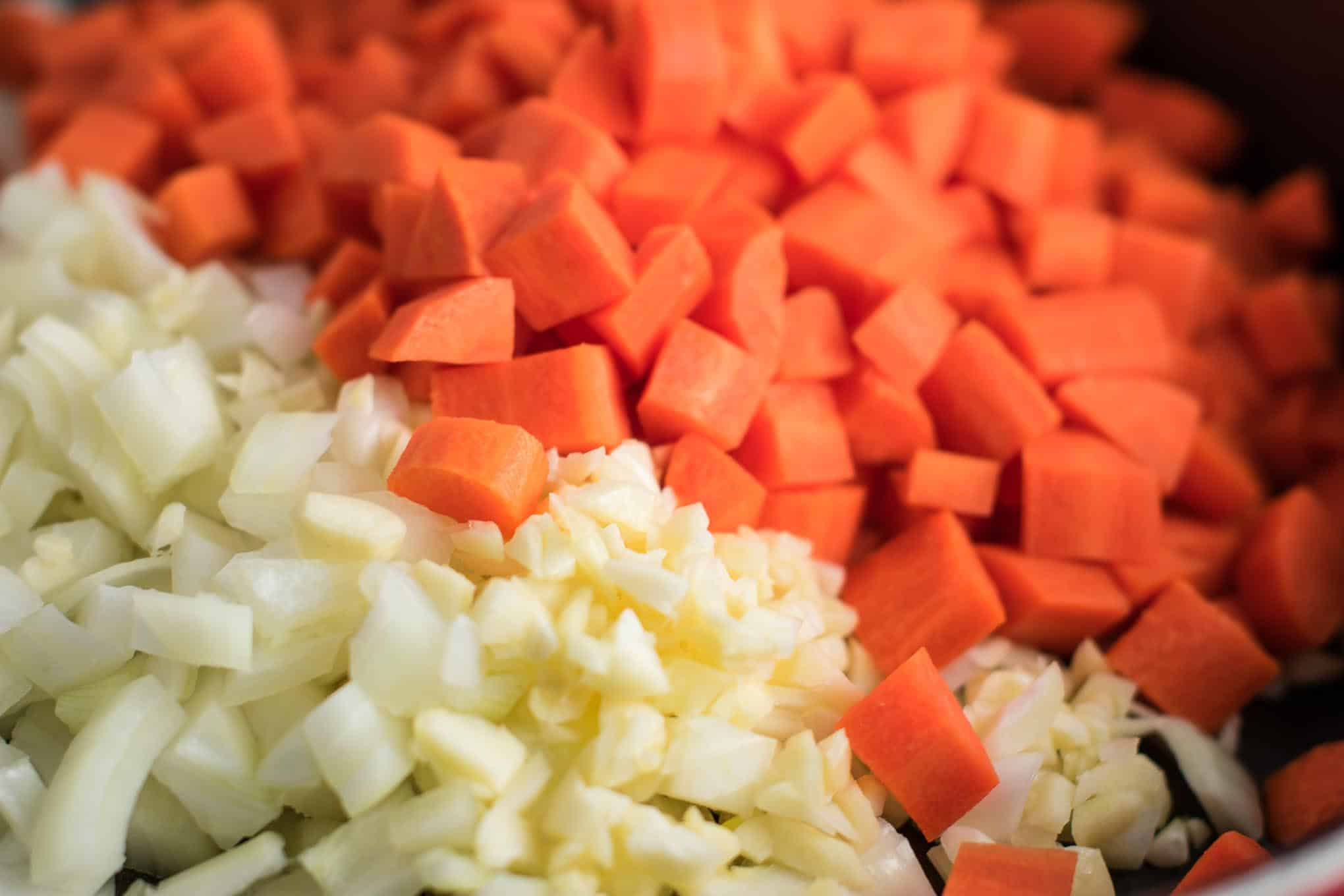 diced carrots, garlic, and onion