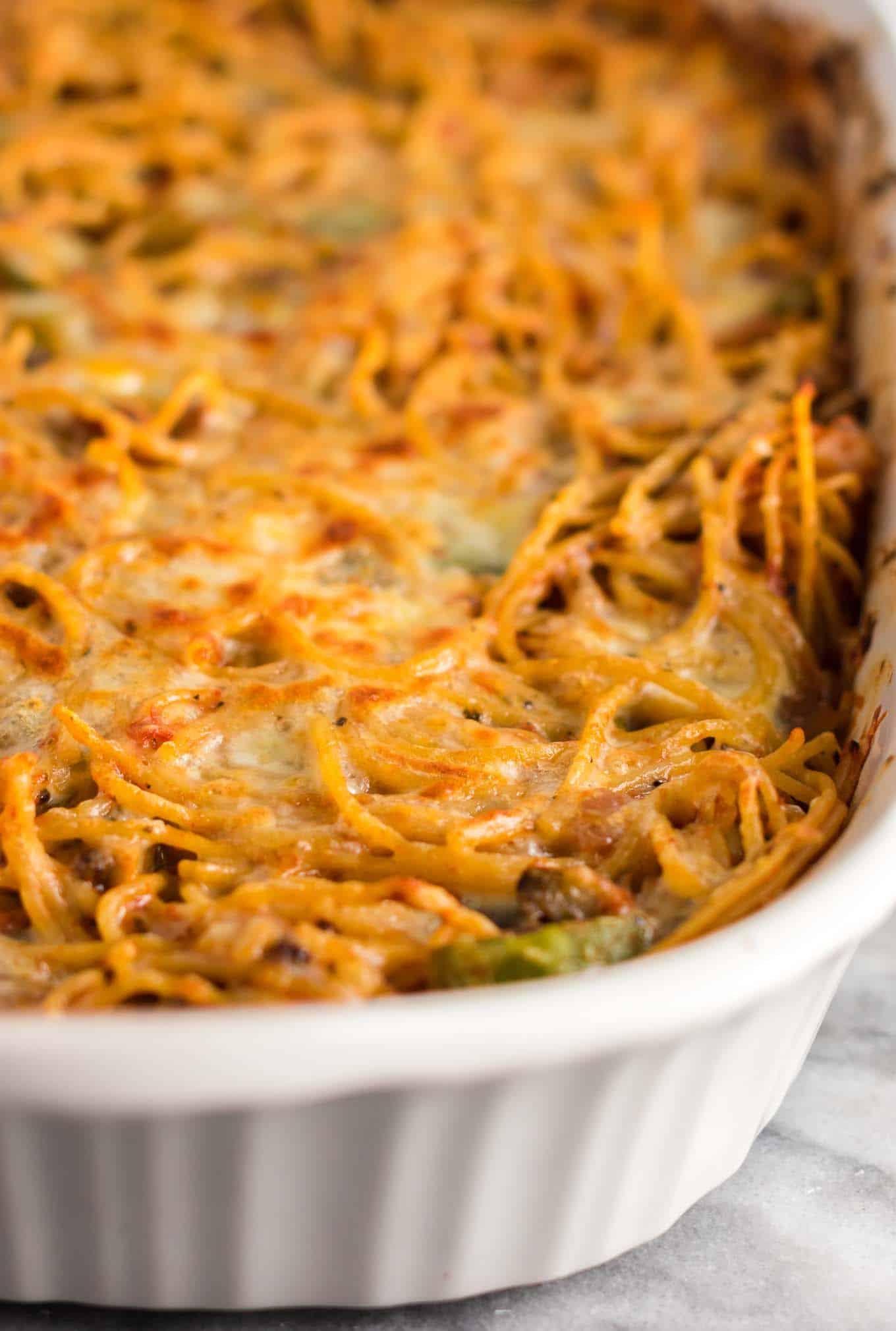 baked spaghetti in a casserole dish