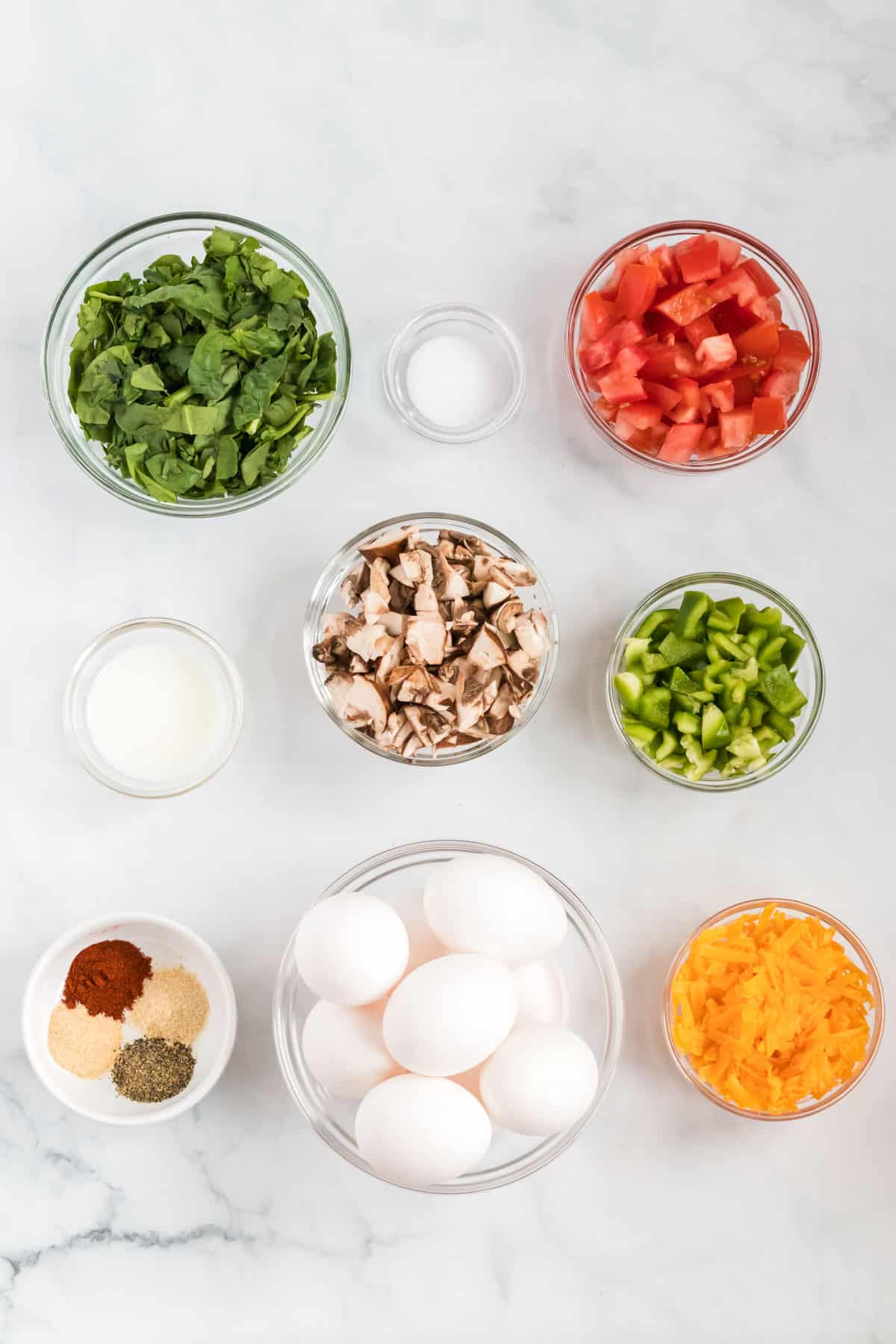 ingredients to make egg muffin cups
