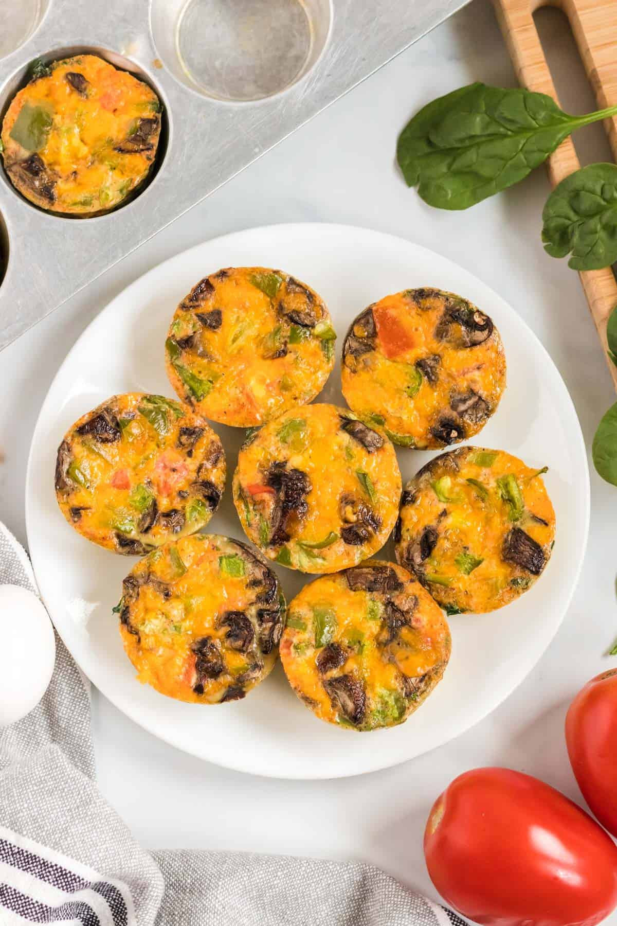 egg muffin cups on a white plate