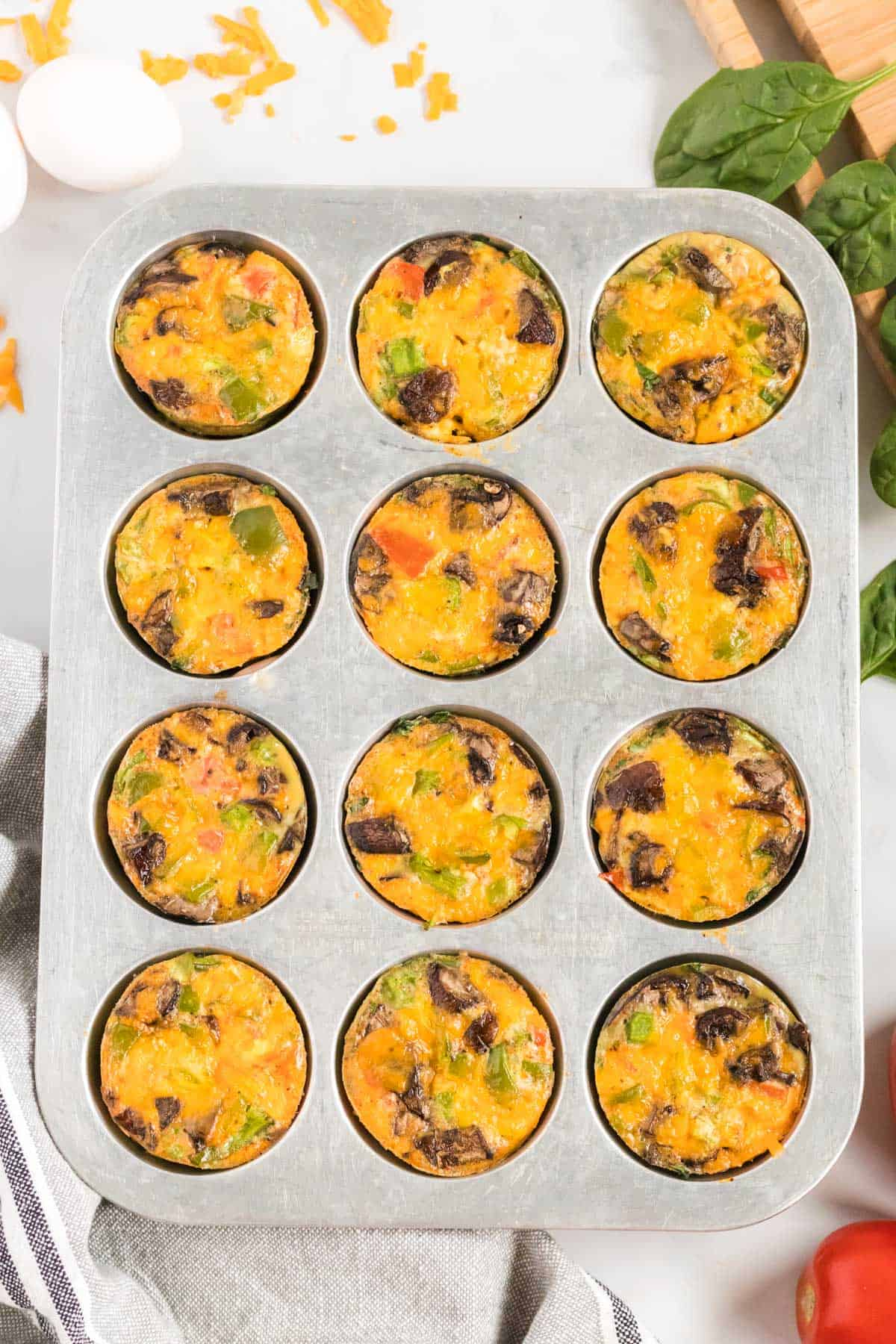 cooked egg muffins in the muffin tin