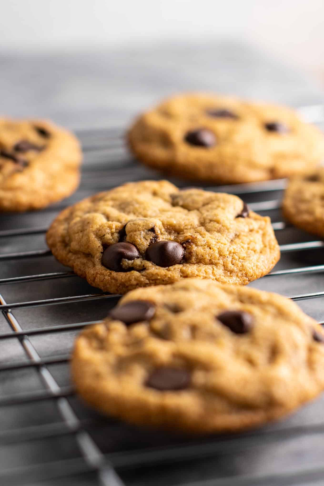 The BEST vegan chocolate chip cookies - heck the best cookies of any kind I've ever had! No one would ever guess these don't have eggs and they taste gourmet! #vegan #dessert #chocolatechipcookies #dairyfree