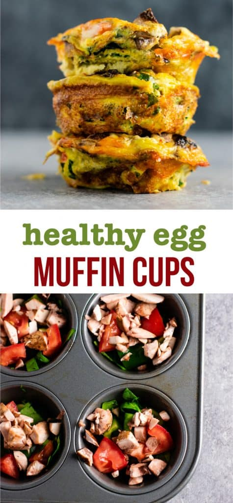 Egg cups in muffin tin - these are perfect for meal prepping breakfast and they taste amazing! #eggmuffincups #breakfast #eggs #vegetarian #mealprep #mealpreprecipes #glutenfree #vegetarianbreakfast
