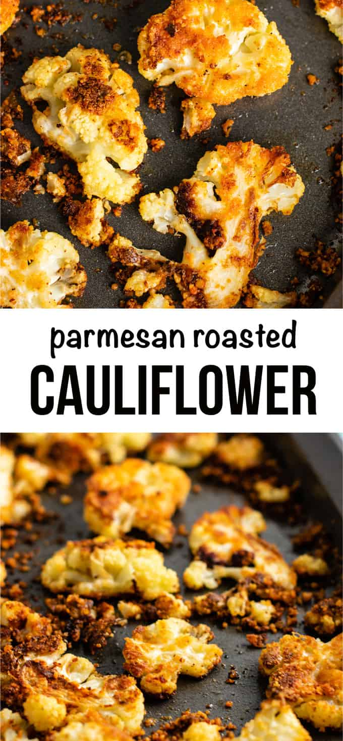 Parmesan cauliflower - this is my favorite way to eat cauliflower! #roastedcauliflower #sidedish #vegetables #parmesan #vegetarian #glutenfree #dinner #roastedvegetables